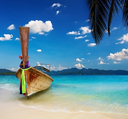 palmtree: Tropical beach with white sand and turquoise sea Stock Photo