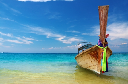 longtail: Tropical beach with thai longtail boat, Andaman Sea, Thailand