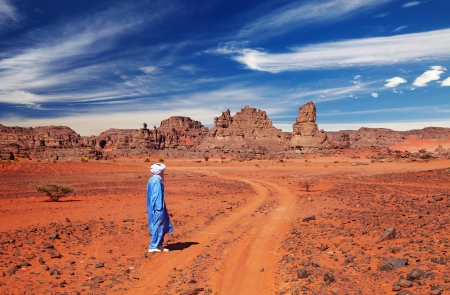 Tuareg in desert, Sahara Desert, Algeria  Stock Photo