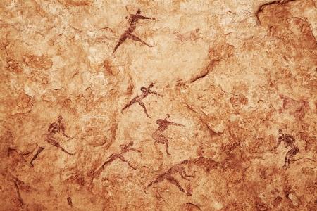 pintura rupestre: Famosos pinturas rupestres de Tassili N'Ajjer, Argelia Foto de archivo
