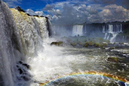 grandeur: Iguassu Falls, the largest series of waterfalls of the world, located at the Brazilian and Argentinian border, View from Brazilian side