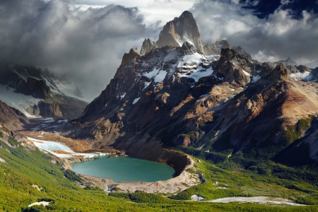 Mount Fitz Roy and laguna Torre, Los Glaciares National Park, Patagonia, Argentina photo