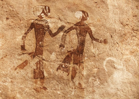 caverns: Famous prehistoric rock paintings of Tassili NAjjer, Algeria