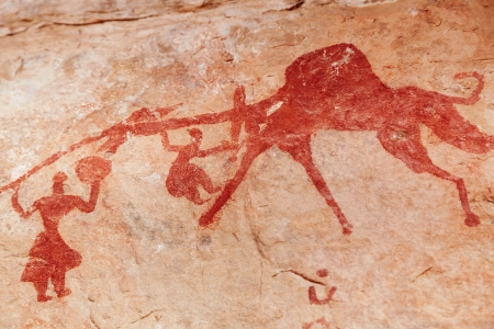 prehistoric man: Famous prehistoric rock paintings of Tassili N Ajjer, Algeria Stock Photo