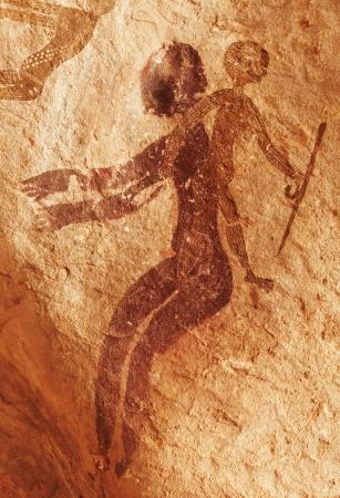 peinture rupestre: C�l�bres peintures rupestres pr�historiques du Tassili n Ajjer, Alg�rie Banque d'images