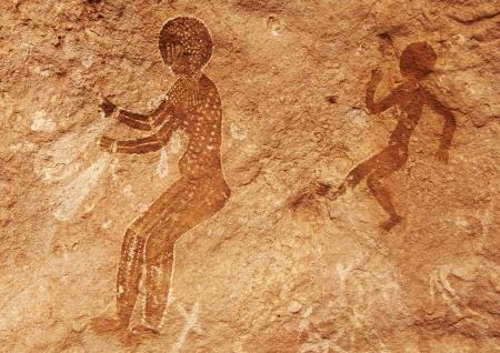 Famous prehistoric rock paintings of Tassili N Ajjer, Algeria photo