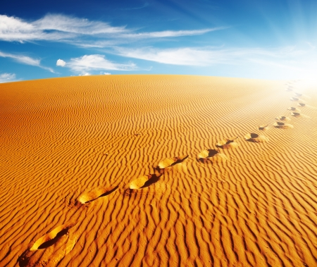 Footprints on sand dune, Sahara Desert, Algeria photo