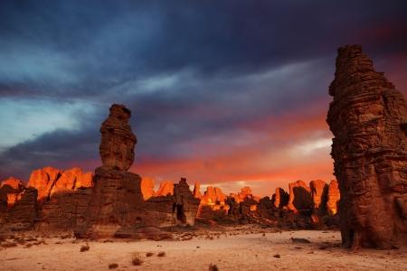 Dramatic sunrise in Sahara Desert, Tassili N Ajjer, Algeria