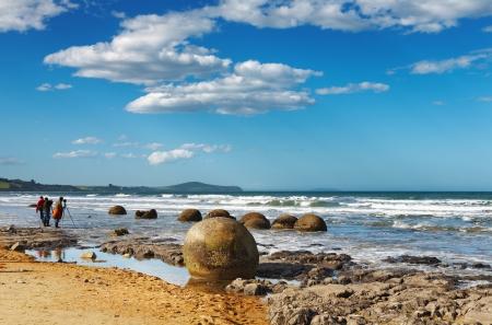 new zealand beach: Coastal view, Moeraki Boulders, New Zealand Stock Photo