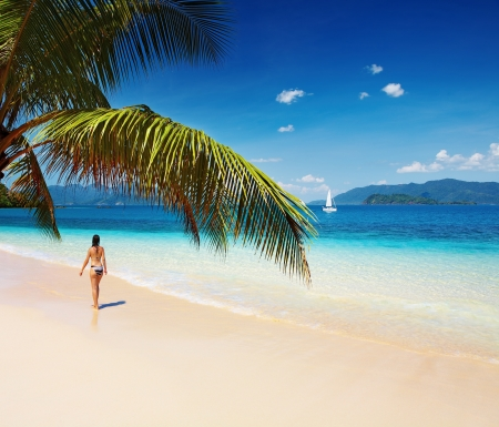 palmtree: Tropical paradise with palms and turquoise see, Thailand  Stock Photo