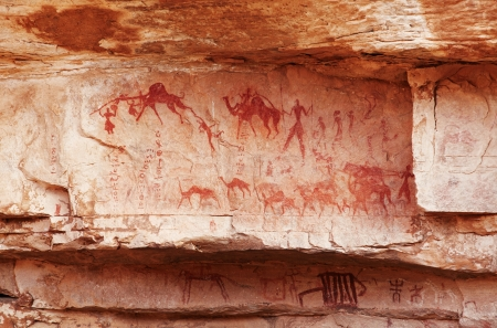 Famous prehistoric rock paintings of Tassili N'Ajjer, Algeria Фото со стока - 13934601