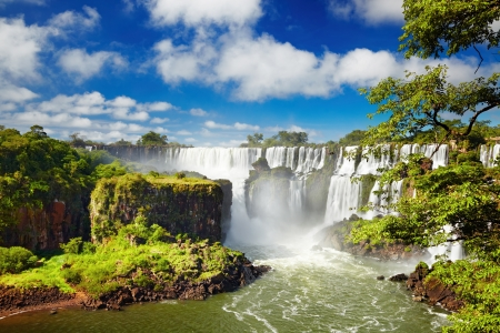 brazil: Iguassu Falls, the largest series of waterfalls of the world, located at the Brazilian and Argentinian border, View from Argentinian side