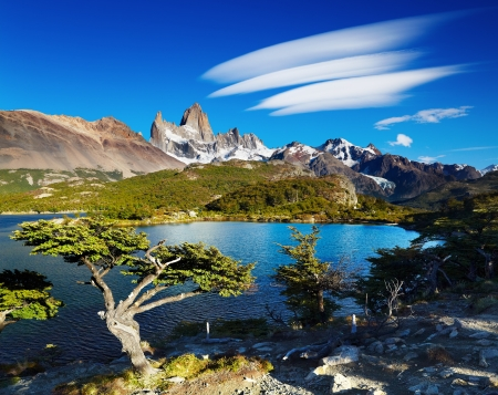 Laguna Capri and mount Fitz Roy, Los Glaciares National Park, Patagonia, Argentina