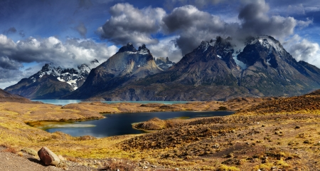 torres del paine: Mountain panorama, Torres del Paine National Park, Patagonia, Chile