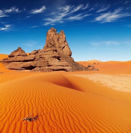 Las dunas de arena y rocas, Desierto del Sáhara, Argelia