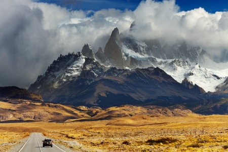 Mount Fitz Roy in the clouds, road to Los Glaciares National Park, Patagonia, Argentina