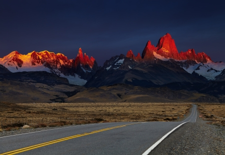 Mount Fitz Roy at sunrise, alpenglow. Los Glaciares National Park, Patagonia, Argentina