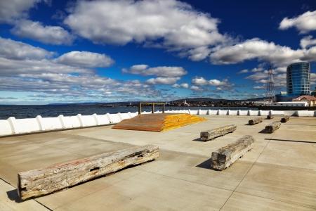 arenas: Chilean city Punta Arenas on the Strait of Magellan Stock Photo