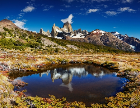 lake argentina: Mount Fitz Roy, Los Glaciares National Park, Patagonia, Argentina Stock Photo