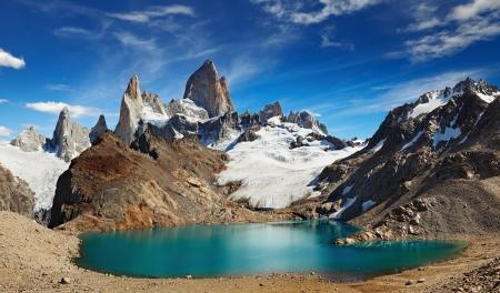 america del sur: Laguna de Los Tres y el Monte Fitz Roy, Parque Nacional Los Glaciares, Patagonia, Argentina Foto de archivo