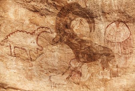 pintura rupestre: Famosas pinturas rupestres de Tassili N Ajjer, Argelia Foto de archivo