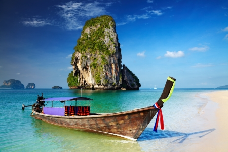 Tropical beach, longtail boat, Andaman Sea, Thailand