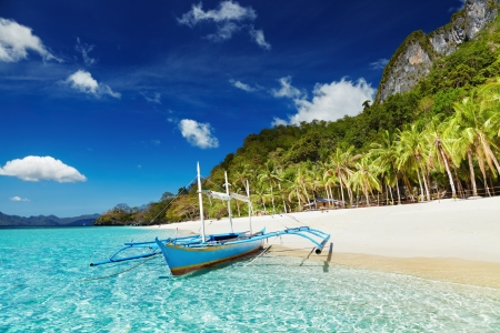 Tropisch strand, Zuid-China See, El-Nido, Filippijnen Stockfoto