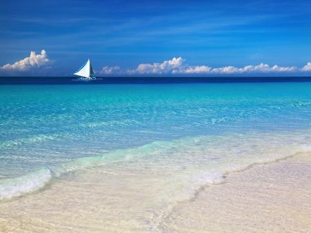 voile: Plage tropicale, l'�le de Boracay, Philippines