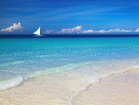 Tropical beach, Boracay island, Philippines photo