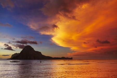 El Nido bay and Cadlao island at sunset, Palawan, Philippines photo