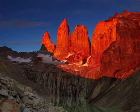 torres del paine: Dramatical sunrise in Torres del Paine national park, Patagonia, Chile