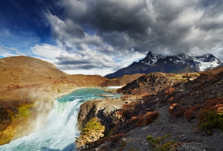 Waterfall in Torres del Paine National Park, Patagonia, Chile photo