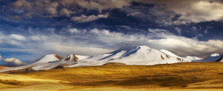 mongolia: Mountain landscape, Plateau Ukok, the junction of Russian, Chinese and Mongolian borders