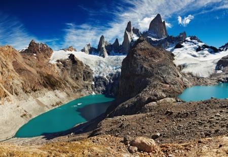 fitzroy: Laguna de Los Tres and Laguna Sucia, Patagonia, Argentina  Stock Photo