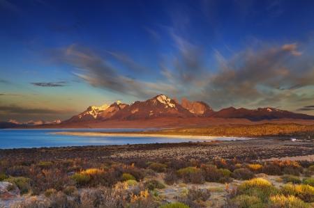 sarmiento: Sarmiento lake, sunrise, Torres del Paine National Park, Patagonia, Chile