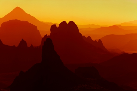 Sunrise in Sahara Desert, Hoggar mountains, Algeria photo