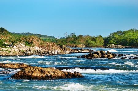 white nile: Rapids de White Nile, Uganda Foto de archivo