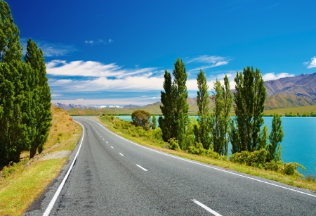 Mountain landscape with lake and road, New Zealand