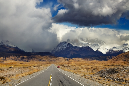 fitz roy: Mount Fitz Roy in the clouds, road to Los Glaciares National Park, Patagonia, Argentina