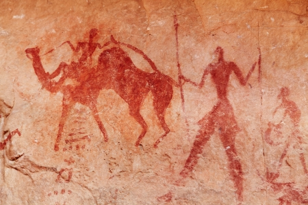 Famous prehistoric rock paintings of Tassili N Ajjer, Algeria Foto de archivo