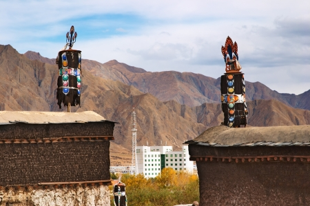 lamaism: Anciet tibetan monastery and modern building Stock Photo