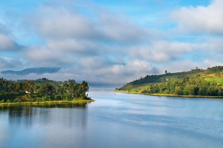 uganda: African landscape, Bunyonyi lake, Uganda Stock Photo