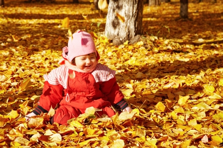 Baby playing with autumn leaves  photo