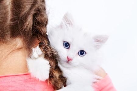 Girl hugging cute white kitty Stock Photo - 22853961