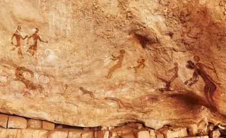 Famous prehistoric rock paintings of Tassili N'Ajjer, Algeria Foto de archivo