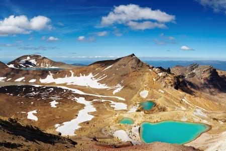 crater highlands: Emerald Lakes, Tongariro National Park, New Zealand  Stock Photo
