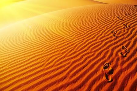 Footprints on sand dune, Sahara Desert, Algeria  photo