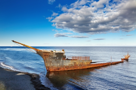 arenas: Remains of the Lord Lonsdale frigate, Strait of Magellan, near Punta Arenas, Chile