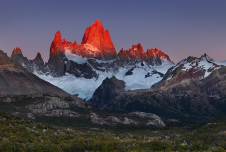 fitz: Mount Fitz Roy, alpenglow, first rays of sunrise. Los Glaciares National Park, Patagonia, Argentina