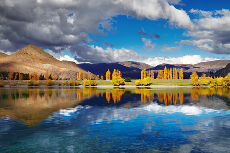 canterbury: Mountain landscape in autumn colors, Lake Benmore, New Zealand
